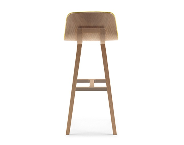 ALKI Stool: front in fabric / leather - back in woodのメイン写真